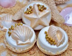 White Chocolate Covered Oreo Cookies With Gold Dusted Seashells Mermaid Under The Sea Birthday Party The Iced Sugar Cookie DIY Birthday Blog Taylors Sweet Revenge