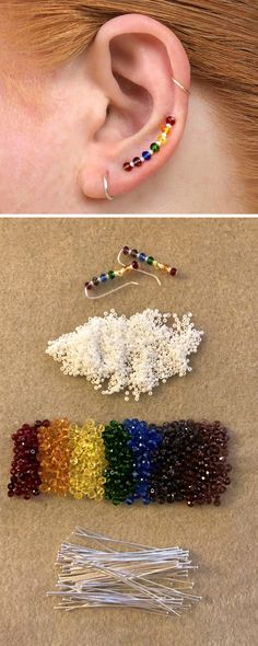 Pictured are examples of my rainbow ear climber earrings. These rainbow earrings. Bracelet Crafts, Jewelry Crafts, Bead Jewellery, Beaded Jewelry, Handmade Wire Jewelry, Chakra Jewelry, Bijoux Diy, Diy Jewelry Making, Cute Jewelry