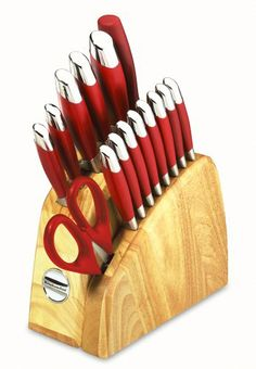 Kitchenaid 16 Piece Red Silicone Cutlery Set In Contemporary Natural Block Handle