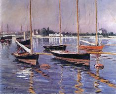 Boats on the Seine at Argenteuil, 1890 by Gustave Caillebotte. Impressionism. landscape. Private Collection