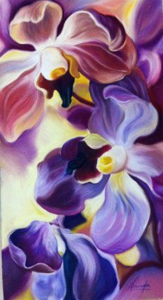 Courting- exotic purple orchids in pastel by Anita Nowinska, Big flower paintings