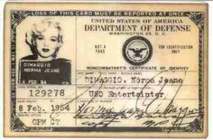 Marilyn Monroe's I'D card when she traveled to Japan & South Korea on her honeymoon with Joe DiMaggio.