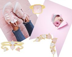 Styling by lolloborgg showing Bubble Facet Square Ring Pink Gold, Lush Double Pink Ring Gold, Lush Pink Ring Gold and Lush Quartet Pink ear stick Gold  #jewellery #Jewelry #bangles #amulet #dogtag #medallion #choker #charms #Pendant #Earring #EarringBackPeace #EarJacket #EarSticks #Necklace #Earcuff #Bracelet #Minimal #minimalistic #ContemporaryJewellery #zirkonia #Gemstone #JewelleryStone #JewelleryDesign #CreativeJewellery #OxidizedJewellery #gold #silver #rosegold #hoops #armcuff #jewls…