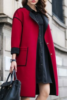 A fall/Winter woollen Coat front opening.Army Green Turn Down Collar Long Sleeve CoatClassic, Red Wool Coat with Pockets Serging. Modest Fashion, Hijab Fashion, Fashion Outfits, Fashion Coat, Fashion Fashion, Trendy Fashion, Fashion Women, Fashion Shoes, Vintage Fashion