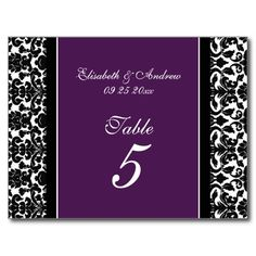 Wedding Table Number Cards Plum Damask Postcard