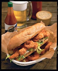 Southern-Style Shrimp the Family Will Love Shrimp Po'boys - Southern Style Shrimp Recipes - Southernliving. Recipe: Shrimp Po'boys Try this authentic shrimp po'boy recipe to get a taste of New Orleans' famous cajun cuisine. Steamed Shrimp, Fried Shrimp, Fried Chicken, Fried Rice, Shrimp Dishes, Shrimp Recipes, Fish Recipes, Southern Cooking Recipes, Southern Food