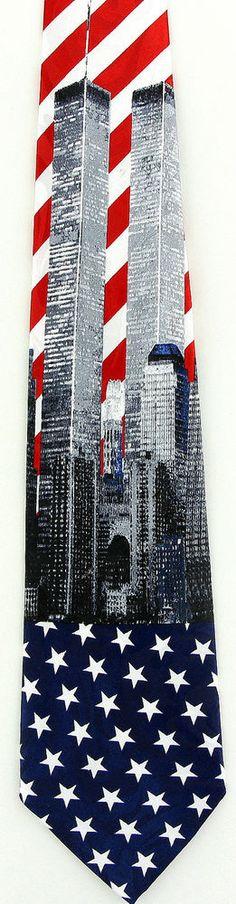 Twin Towers Mens Necktie New York World Trade Center 9/11 Patriotic Neck Tie New #Fratello #NeckTie