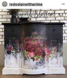 Beauty Evolves From Darkness Repurposed Furniture Beauty Darkness Evolves Floral Furniture, Black Painted Furniture, Decoupage Furniture, Funky Furniture, Refurbished Furniture, Paint Furniture, Repurposed Furniture, Shabby Chic Furniture, Furniture Projects