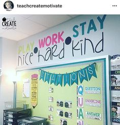 Finally got my quote wall finished! this is our class mantra this year-stick to these 3 things and you'll be good to go . 404 Classroom Decor You can find more details by visiting the image link. Classroom Setting, Classroom Design, Future Classroom, School Classroom, Classroom Organization, Classroom Management, Elementary Classroom Themes, Kindergarten Classroom Setup, English Classroom