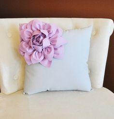 Lilac Corner Dahlia on Gray Pillow 14 X 14 -Flower Pillow- Baby Nursery Pillow on Etsy, $35.00