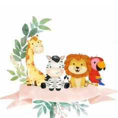 Jungle Party, Safari Party, Safari Theme, Baby Clip Art, Baby Art, Tag Safari, Unique Baby Shower Themes, Flower Graphic Design, Doodle Frames