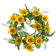 """Faux 20"""" Sunflower Wreath Yellow (Pack of 2) by Silk Decor. $49.99. Height - 20"""". This listing is for 1 case. You will receive 2 items per case - 1 item shown in picture. 20"""" Sunflower Wreath Yellow. Weight: 29.00 OZ (Pack of 2)Some assembly may be required. Please see product details. Some assembly may be required. Please see product details.. Save 31% Off!"""