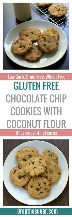 Gluten Free Chocolate Chip Cookies With Coconut Flour | a low carb chocolate chip cookies recipe that is also high in fiber. If you're looking for a sugar free chocolate chip cookie that is also grain free, then this is a great recipe to try! Pin now to make later!