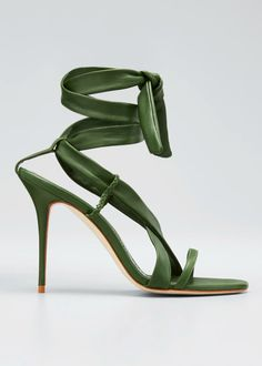 Manolo Blahnik Tor Leather Ankle-tie Stiletto Sandals In Green Manolo Blahnik Sandals, Manolo Blahnik Hangisi, Stiletto Heels, High Heels, Strappy Heels, Olympia Shoes, Fashion Shoes, Bergdorf Goodman, Leather Sandals