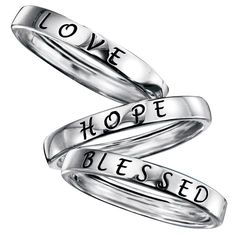 "Be truly inspired with these beautiful sterling silver band rings engraved in black with an inspirational message. Your choice of love, hope, or blessed. Imported.  www.youravon.com/lonie STERLING SILVER is the standard for fine silver jewelry in the world over. Only Sterling Silver can be stamped with a ""fineness mark"" of .925 indicating its high quality."