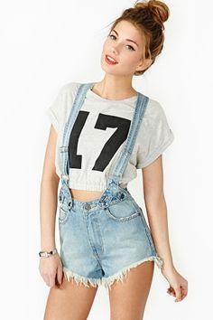 Penny Denim Suspender Shorts $110