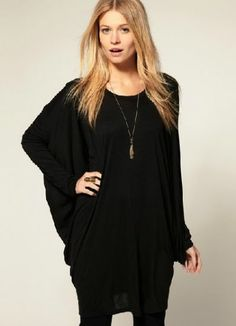 Black Batwing Long Sleeve Loose T-Shirt pictures