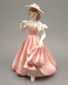 Vintage Florence Ceramics Tess Porcelain Lady Figurine Pink Dress Lace Sleeves