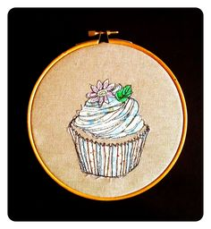 Mouth-watering! This machine embroidered and appliqué cupcake is absolutely stunning, by textile artist Katie Essam :)