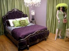 Purple and green bedroom.
