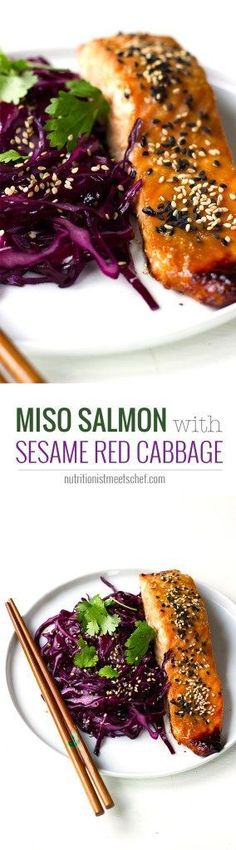 Miso Salmon with Sesame Red Cabbage! A tasty and healthy dinner! See more at nutritionistmeets...