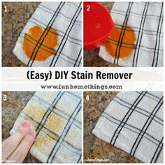 Fun Home Things: DIY Stain Remover. Equal parts Hydrogen peroxide and dish soap.