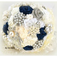 Brooch Bouquet Wedding Bridal Jeweled Ivory Cream White Navy Blue... (505 SGD) ❤ liked on Polyvore featuring jewelry, brooches, bouquets, decorations, silver, weddings, bride jewelry, ivory brooch, lace jewelry and bridal jewelry