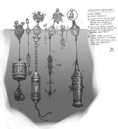 *Cimetière de Bilgewater*     Tonneau funéraire     « Bouée funéraire » pour riches     Exemple de tombe commune pour gens pauvres : plusieurs corps sont ligotés les uns aux autres et fixés à une même bouée     Les bouées peuvent finir par s'emmêler et, avec l'ajout de bois flottant, d'algues et d'autres détritus, elles deviennent des « radeaux fantômes »     Canon funéraire : la bouche est scellée après l'insertion du corps. Des bouées ornées de cloches sont placées sur le pourtour du cimet