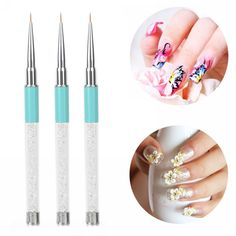 New Acrylic Rhinestone Handle DIY Drawing Liner #Nail# Art Tips Pen Manicure Tool