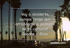Voy a olvidarte, aunque tenga que arrancarte a pedazos de mi corazón! Sandra I. Silva