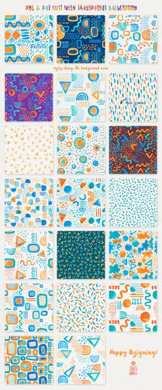 "Catch the Wave, Seamless Patterns: I am pleased to introduce you to ""Catch the Wave"", a summerish pack of 20 seamless watercolor patterns. The patterns are great for almost all kind of design projects like branding, packaging, greeting cards, clothes & fabric print, scrapbooking and even wedding invitations."