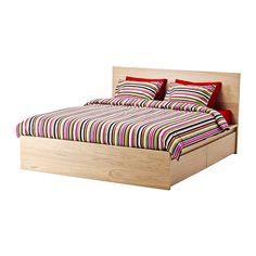 MALM Rama łóżka, wys, 4 pojemniki IKEA 4 duże szuflady na kółkach zapewnią dodatkowe miejsce do przechowywania pod łóżkiem.