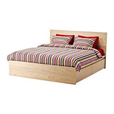 IKEA - MALM, Struc ca A&4 caj, Luröy, 140x200 cm, , Con 4 cajones grandes para guardar cosas debajo de la cama.La chapa de madera asegura una bonita pátina a la estructura de cama.Al tener los laterales de la cama regulables, se pueden utilizar colchones de diversos grosores.