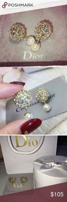 Dior gold tribal sparkling crystal earrings New! Comes with box, dust bag, and shopping bag. Very high quality in-spired earrings! Please also checkout my other items Dior Jewelry Earrings