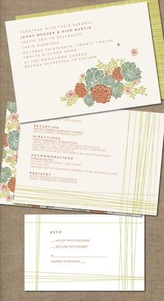 """Lovely #succulent #wedding invitation! """"Go Green"""" for your wedding with plant decor! Check out more lovely plant Etsy wedding finds for an eco-friendly wedding! 3d-memoirs.com"""