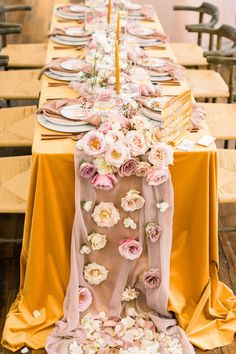 MODERN LOVE EVENT Nashville // Mustard Velvet Tablescape with draping florals down the runner. Photo by Morgan Franklin Creative Wedding Centerpieces, Wedding Decorations, Table Wedding, Mustard Yellow Wedding, Floral Wedding, Wedding Flowers, Indian Table, Yellow Table, Floral Tablecloth
