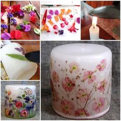 DIY decoupage dried flowers on candles Candle Craft, Candlemaking, Homemade Candles, Dried Flowers, Real Flowers, Diy Candles With Flowers, Artificial Flowers, Pillar Candles, Beeswax Candles