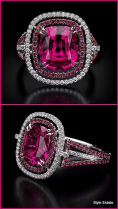 Spinal Ring - The vibrant color in the 5.20 carat spinel trimmed with diamonds and spinel shows why fine stones like this are becoming among the most sought after by fine jewelry collectors.