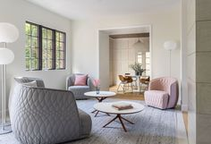 Gray and pink living space with textured chair