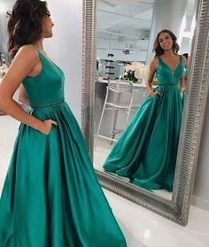 Deep V Prom Dress,Green Prom Dresses, Prom Dress with Pockets, Elegant Long Prom Dress,Sleeveless prom Dress from flordabridal Gold Prom Dresses, Elegant Prom Dresses, A Line Prom Dresses, Prom Dresses For Sale, Cheap Dresses, Evening Dresses, Formal Dresses, Dress Prom, Party Dress