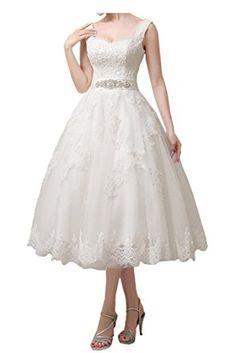 Victory Bridal Vintage Beach Damen Hochzeitskleider Brautkleider Brautmode  Wadenlang Kurz 2018 Neu Ballkleider  Amazon.de  Bekleidung 3bcfd8596e