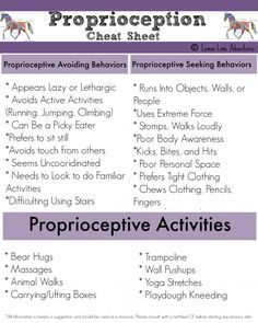 Proprioception Cheat Sheet-Sensory Processing Explained. Repinned by SOS Inc. Resources pinterest.com/sostherapy/.