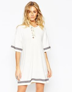 Pin for Later: All Laced Up: Autumn's Alternative to the Plunging Neckline Asos Kimono Dress with Lace Up Detail and Festival Trim Asos Kimono Dress with Lace Up Detail and Festival Trim (£38)