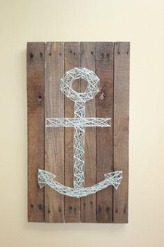 anchor nail and string art on repurposed pallet by allrainydaysAG via etsy