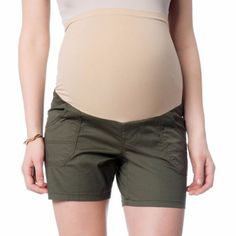 "- Green shorts - Full panel - Back snap pockets - Cotton, spandex, 5"" inseam - Product #435"