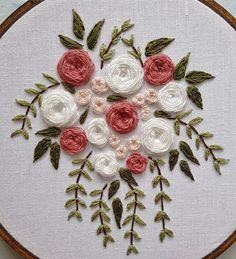 Hand Embroidery Patterns Flowers, Ribbon Embroidery Tutorial, Hand Embroidery Videos, Embroidery Flowers Pattern, Hand Embroidery Stitches, Silk Ribbon Embroidery, Hand Embroidery Designs, Embroidery Kits, Cross Stitch Embroidery