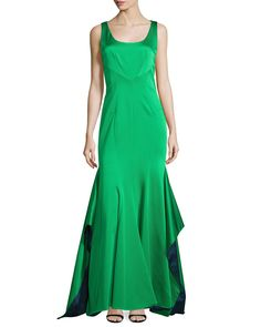 Katherine Sleeveless Mermaid Gown, Petrol/Lime (Petrol/Green) - ZAC Zac Posen