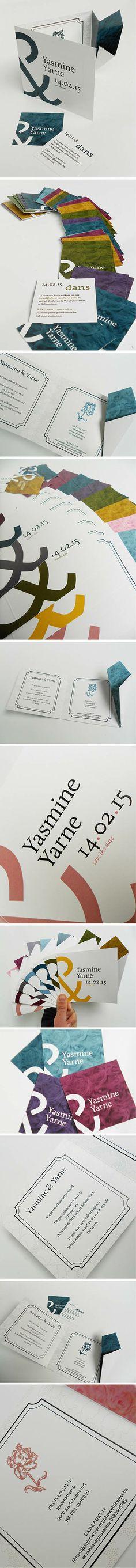 Chique #trouwkaart met boeketje in #origami