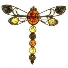 BALTIC AMBER AND STERLING SILVER 925 DESIGNER MULTI-COLOURED DRAGONFLY BROOCH PIN JEWELLERY JEWELRY Cozmos Brooches. $31.43