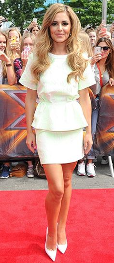 Cheryl wore a mint colored peplum top and skirt by 3.1 Phillip Lim. Get the look: http://www.celebrityfashionista.com/cheryl-cole/3-1-phillip-lim-mint-cloque-floating-peplum-top/
